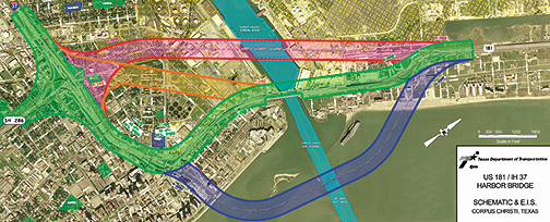 Maps And Pictures Corpus Christi Harbor Bridge Project - Us bridge map