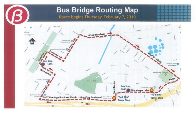 Winnebago Bus Bridge Routing Map